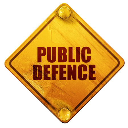 dictatorship: public defence, 3D rendering, yellow road sign on a white background