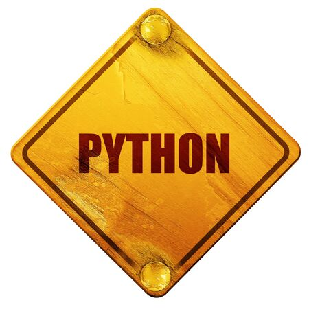 computer language: python computer language, 3D rendering, yellow road sign on a white background
