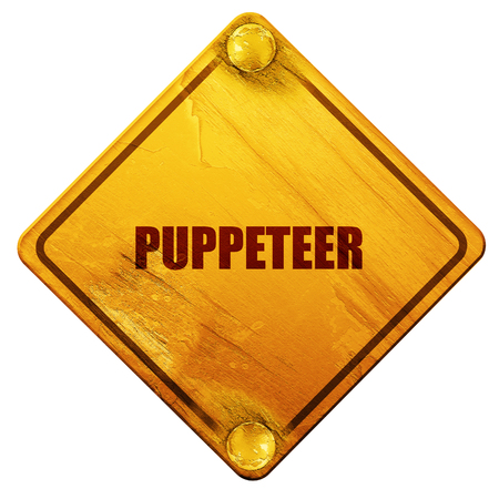 puppeteer: puppeteer, 3D rendering, yellow road sign on a white background