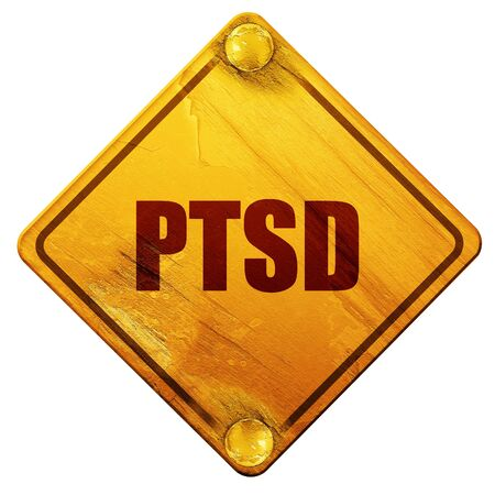traumatic: ptsd, 3D rendering, yellow road sign on a white background Stock Photo