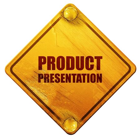 product presentation: product presentation, 3D rendering, yellow road sign on a white background