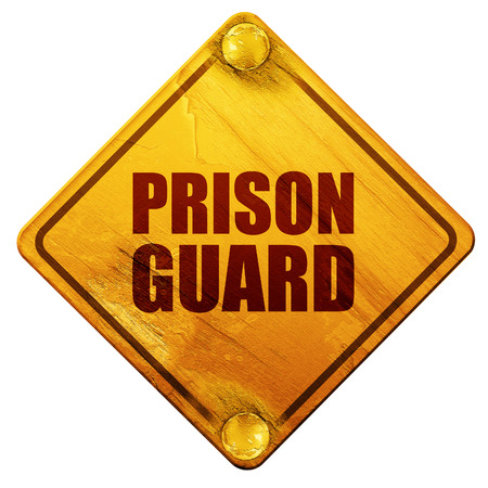 correctional officer: prison guard, 3D rendering, yellow road sign on a white background