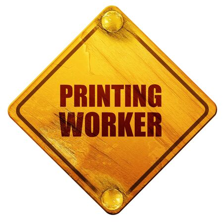 road worker: printing worker, 3D rendering, yellow road sign on a white background
