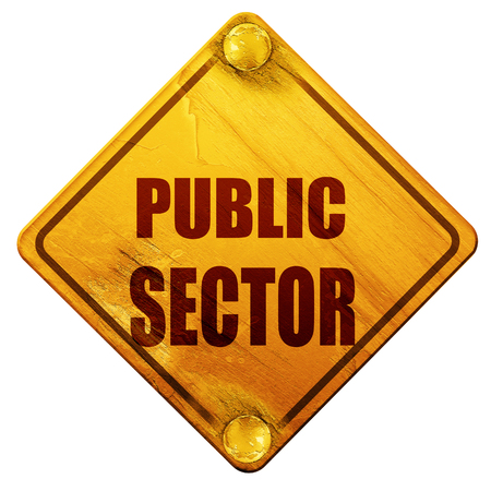 public sector: public sector, 3D rendering, yellow road sign on a white background