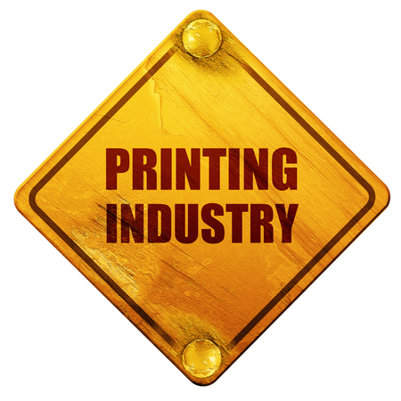 printing proof: printing industry, 3D rendering, yellow road sign on a white background