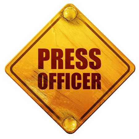 bureaucrat: press officer, 3D rendering, yellow road sign on a white background