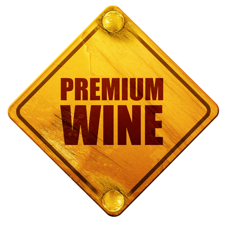 wine road: premium wine, 3D rendering, yellow road sign on a white background
