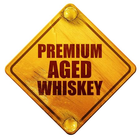 bottle screw: premium aged whiskey, 3D rendering, yellow road sign on a white background Stock Photo