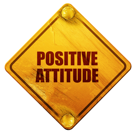 opportunity sign: positive attitude, 3D rendering, yellow road sign on a white background