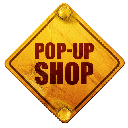 pop-up shop, 3D rendering, yellow road sign on a white background Stock Photo