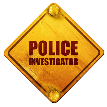 csi: police investigator, 3D rendering, yellow road sign on a white background