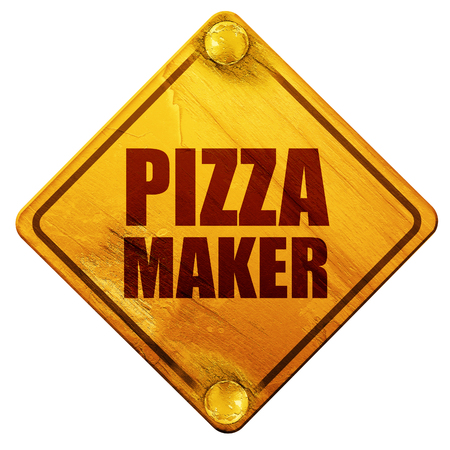 pizza maker, 3D rendering, yellow road sign on a white background