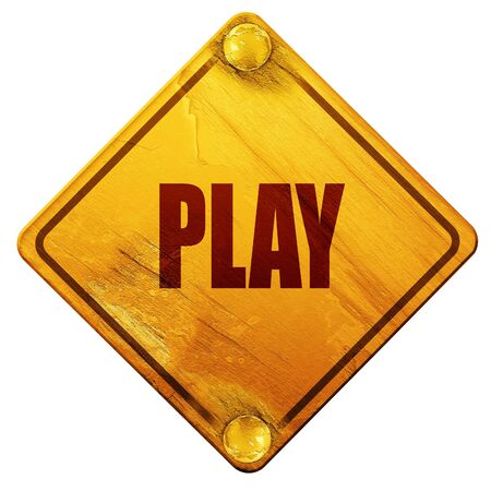 inform information: play, 3D rendering, yellow road sign on a white background