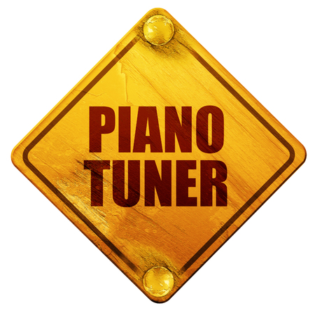 tuner: piano tuner, 3D rendering, yellow road sign on a white background