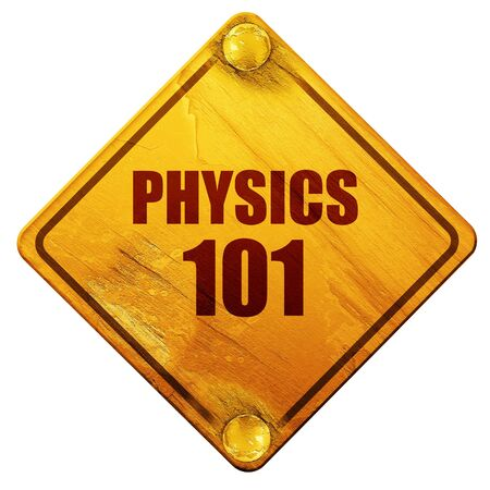 mendeleev: physics 101, 3D rendering, yellow road sign on a white background Stock Photo