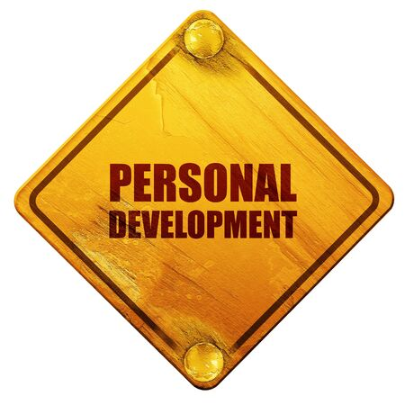 personal development: personal development, 3D rendering, yellow road sign on a white background Stock Photo