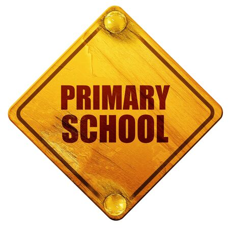 primary school: primary school, 3D rendering, yellow road sign on a white background