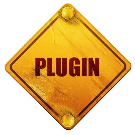 plugin: plugin, 3D rendering, yellow road sign on a white background