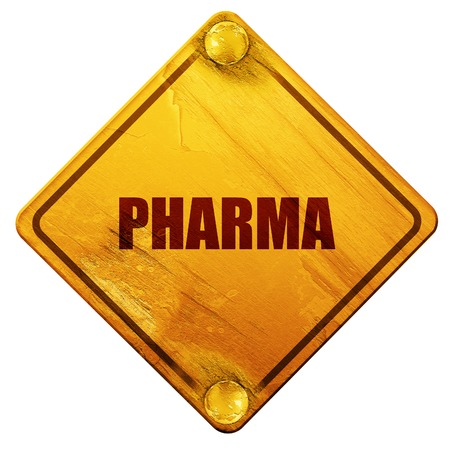 pharma: pharma, 3D rendering, yellow road sign on a white background