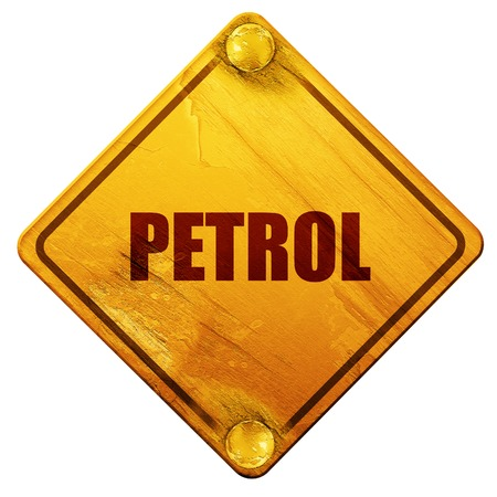 petrol, 3D rendering, yellow road sign on a white background