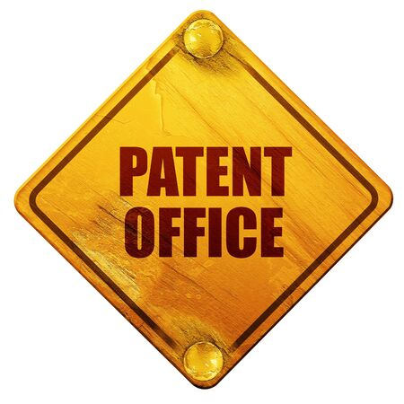 patent: patent office, 3D rendering, yellow road sign on a white background