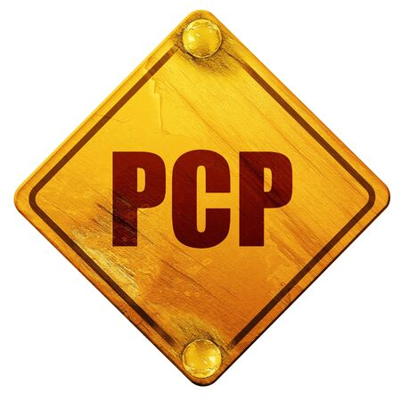 meth: pcp, 3D rendering, yellow road sign on a white background Stock Photo
