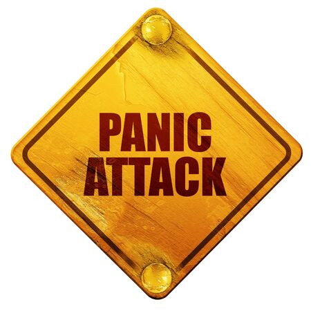 psychologically: panic attack, 3D rendering, yellow road sign on a white background