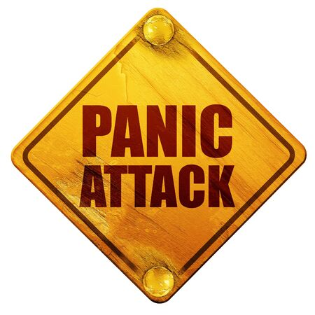 panic: panic attack, 3D rendering, yellow road sign on a white background