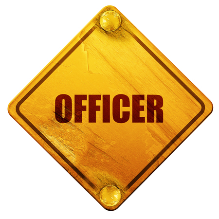 lightbar: officer, 3D rendering, yellow road sign on a white background
