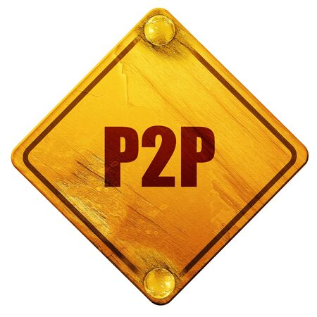 torrent: p2p, 3D rendering, yellow road sign on a white background