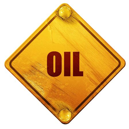 isolation: oil, 3D rendering, yellow road sign on a white background