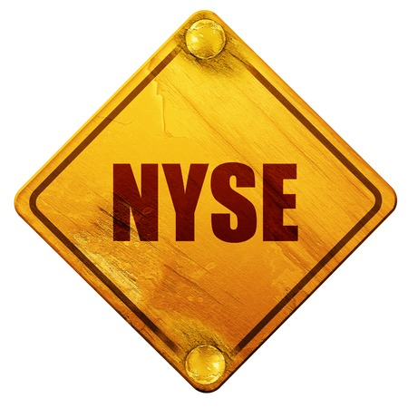 nyse: nyse, 3D rendering, yellow road sign on a white background
