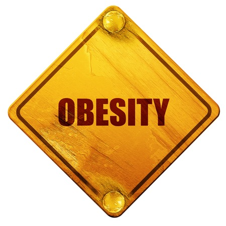 waist weight: obesity, 3D rendering, yellow road sign on a white background