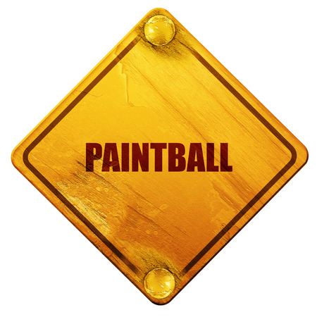 isolation: paintball, 3D rendering, yellow road sign on a white background