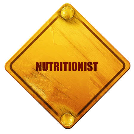 dietology: nutritionist, 3D rendering, yellow road sign on a white background Stock Photo