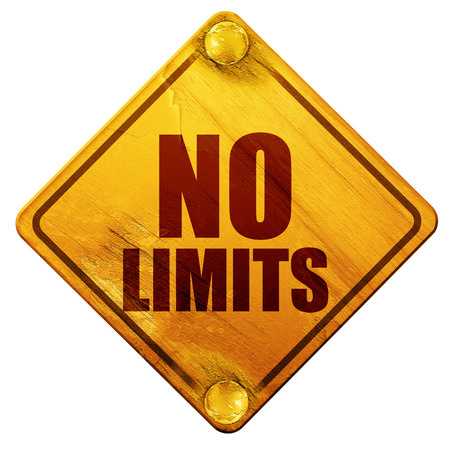 no limits: no limits, 3D rendering, yellow road sign on a white background Stock Photo