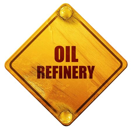 isolation tank: oil refinery, 3D rendering, yellow road sign on a white background Stock Photo