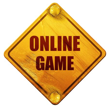 online game: online game, 3D rendering, yellow road sign on a white background Stock Photo