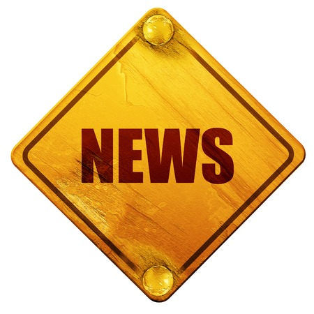 newspaper stack: news, 3D rendering, yellow road sign on a white background Stock Photo