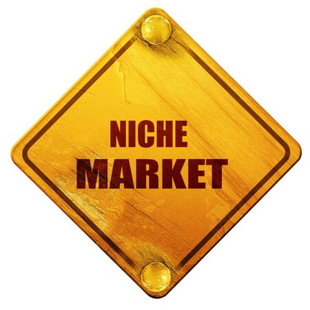 niche: niche market, 3D rendering, yellow road sign on a white background