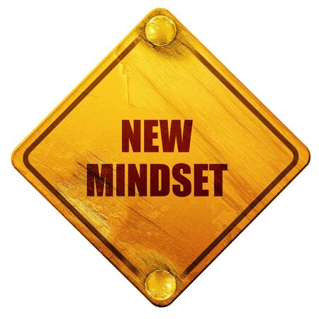 mindset: new mindset, 3D rendering, yellow road sign on a white background Stock Photo