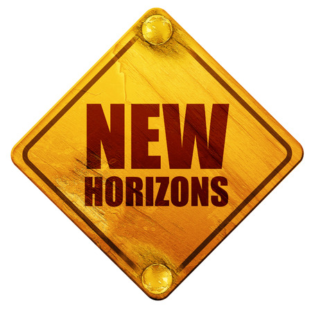 horizons: new horizons, 3D rendering, yellow road sign on a white background