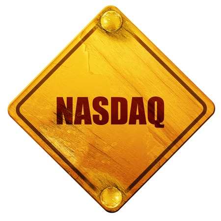 nasdaq: nasdaq, 3D rendering, yellow road sign on a white background Stock Photo