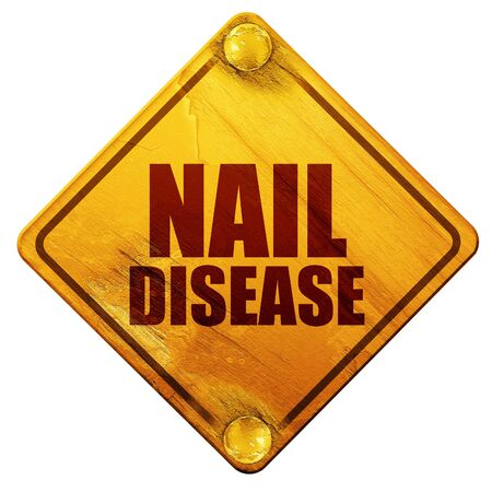 toenail fungus: nail disease, 3D rendering, yellow road sign on a white background Stock Photo