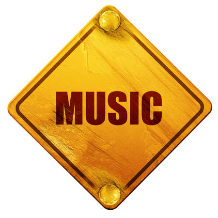 music 3d: music, 3D rendering, yellow road sign on a white background Stock Photo