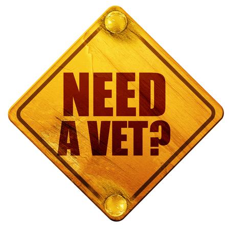 wścieklizna: need a vet?, 3D rendering, yellow road sign on a white background Zdjęcie Seryjne