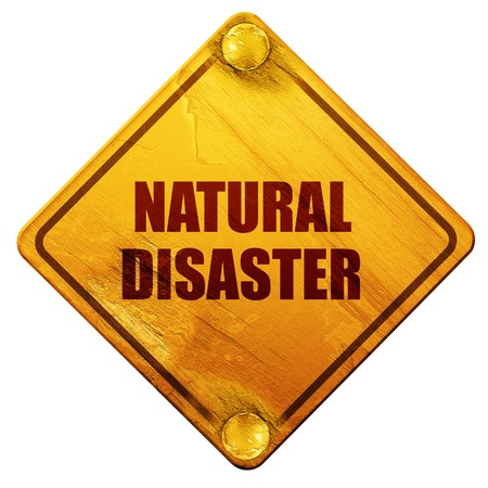 overflow: natural disaster, 3D rendering, yellow road sign on a white background
