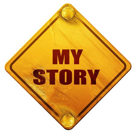 biography: my story, 3D rendering, yellow road sign on a white background