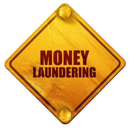 aml: money laundering, 3D rendering, yellow road sign on a white background