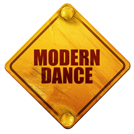 3d dance: modern dance, 3D rendering, yellow road sign on a white background